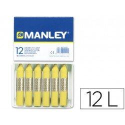 Lapices cera blanda Manley 12 unidades color amarillo claro