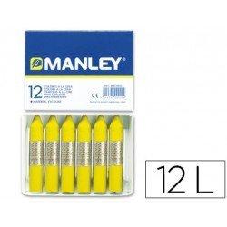 Lapices cera blanda Manley 12 unidades color amarillo limon