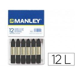 Lapices cera blanda Manley caja 12 unidades color negro