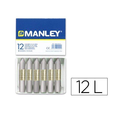 Lapices cera blanda Manley caja 12 unidades color plata