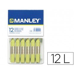 Lapices cera blanda Manley caja 12 unidades color verde amarillento