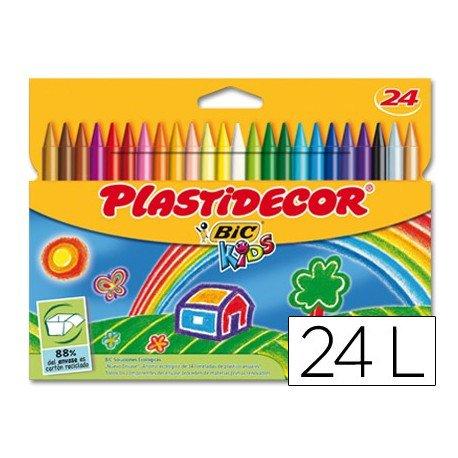 Lapices cera Plastidecor 24 unidades colores surtidos