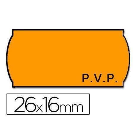 Rollo Etiquetas adhesivas Meto PVP fluor naranja 26 x 16