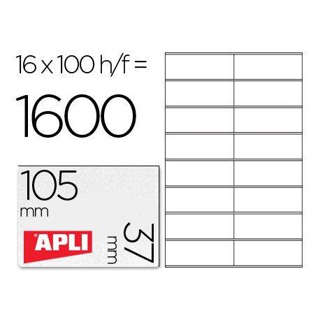 16 Etiquetas Apli Adhesivas por hoja. Caja de 100 hojas