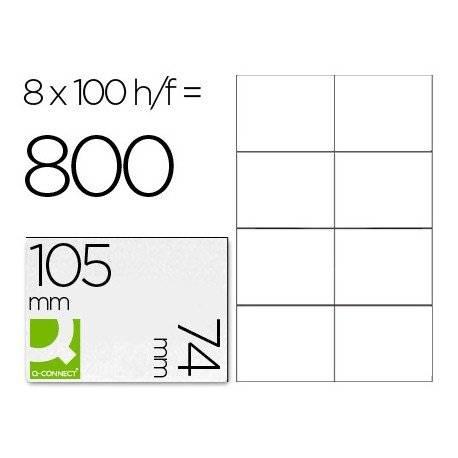Etiquetas Adhesivas marca Q-Connect kf10659 tamaño 105x74 mm fotocopiadora laser ink-jet caja con 100 hojas din a4.