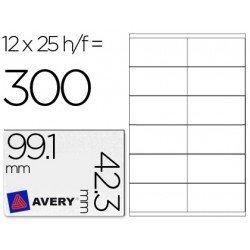 12 Etiquetas adhesivas Avery, tamaño 99,1 x 42,3 mm. Caja 25 hojas.