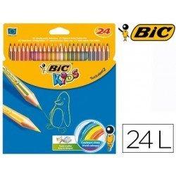 Lapices de colores Bic hexagonales mina gruesa 4 mm caja de 24 unidades