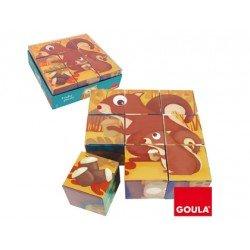 Puzzle a partir de 3 años 9 cubos animalitos del bosque marca Goula