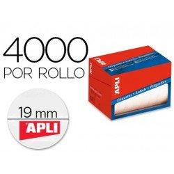 Etiquetas adhesiva Apli 1673 19 mm redondas rollo de 4000 unidades blancas