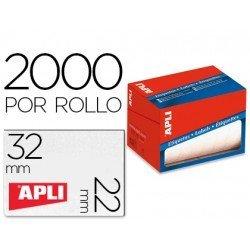 Apli Etiquetas adhesivas 1688 22x32 mm redondas rollo de 2000 unidades blancas