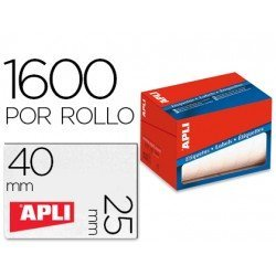 Etiqueta adhesiva Apli 1690 25x40 mm redondas rollo de 1600 unidades blancas
