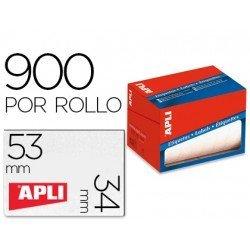 Etiqueta adhesiva Apli 1694 34x53 mm redondas rollo de 900 unidades blancas