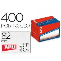 Etiqueta adhesiva Apli 1703 53x82 mm redondas rollo de 400 unidades blancas