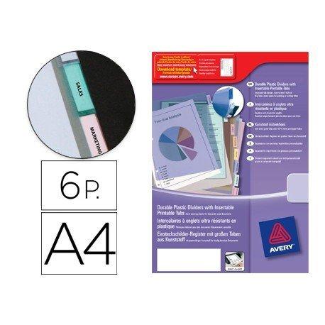 Separador Avery de plastico con 6 pestañas de indice personalizable din a4