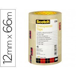 Cinta adhesiva Scotch 550 transparente pack de 12