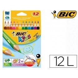 Lapices de colores bic triangulares estuche de 12 colores finos