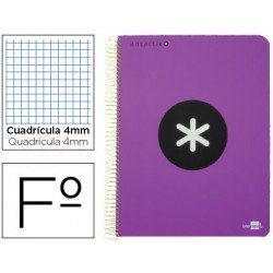 Bloc Antartik Folio Cuadrícula tapa Dura 100g/m2 color Violeta con margen