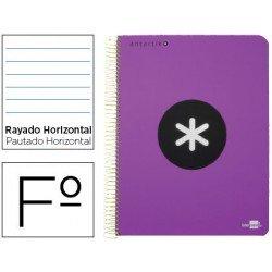 Bloc Antartik Folio Rayado Horizontal tapa Dura 100g/m2 Violeta con margen