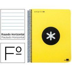 Bloc Antartik Folio Rayado Horizontal tapa Dura 100g/m2 color Amarillo Flúor con margen
