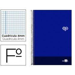 Bloc Liderpapel serie Discover folio cartoncillo cuadricula 4 mm azul marino