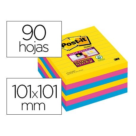 Post-it ® Bloc de notas super sticky rayado colores 90 hojas 101 x 101 mm