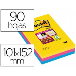 Post-it ® Bloc de notas adhesivas super sticky rayado 101 X 152 mm 90 hojas 3 colores