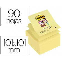 Posit Bloc de notas adhesivas super sticky rayado 101x101 mm 90 hojas pack 5 blocs Z-notes amarillo