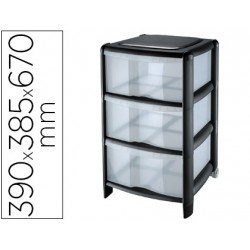 Fichero cajones Cep 3 cajones con ruedas 39,5x38,5x67 cm negro/transparente