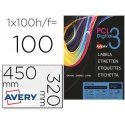 Etiqueta adhesiva Avery SRA3 blanca opaca 320x450 mm para impresora digital