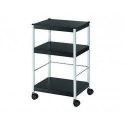 Mesa auxiliar Fast-Paperflow con 3 estantes negro 74x45x36 cm