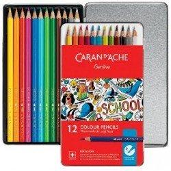 Lápices caran d´ache acuareables 12 unidades línea escolar