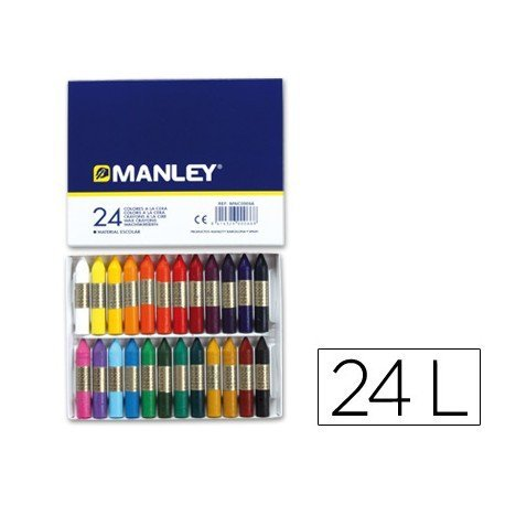 Lapices cera blanda Manley caja 24 unidades