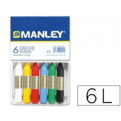 Lapices cera blanda Manley caja de 6 unidades