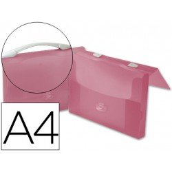 Portadocumentos Cartera Beautone A4 Con broche y Asa Roja Transparente