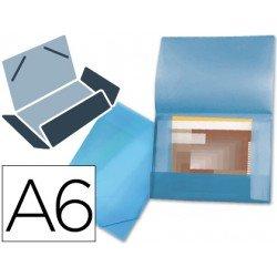 Carpeta lomo flexible con solapas Beautone Din A6 azul