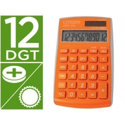 Calculadora Bolsillo Citizen CPC-112ORWB 12 Digitos Naranja Serie Wow