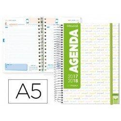 Agenda Escolar 17-18 Un dia por pagina A5 Bilingüe Liderpapel College Blanca