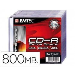 CR-R Emtec 800mb 90min velocidad 48X Caja Slim 10 unidades