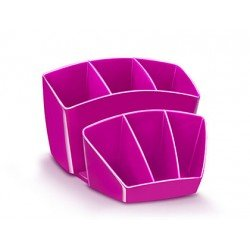 Organizador sobremesa CEP 143x158x93 mm 8 Compartimentos Plástico Rosa