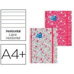 Cuaderno Oxford Ebook 1 A4+ Floral Tapa Extradura con gomilla Rayado Horizontal NO SE PUEDE ELEGIR