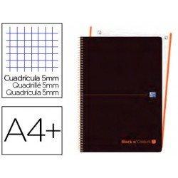 CUADERNO ESPIRAL OXFORD EBOOK 1 TAPA PLASTICO DIN A4+ 80 H CUADRICULA 5 MM BLACK'N COLORS NARANJA