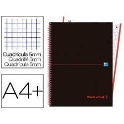 CUADERNO ESPIRAL OXFORD EBOOK 4 TAPA PLASTICO DIN A4+ 120 H CUADRICULA 5 MM BLACK'N COLORS ROJO