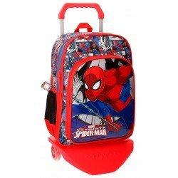 Mochila Spiderman Comic Microfibra 30x40x13 cm Roja doble compartimento con ruedas