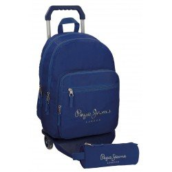 Mochila Pepe Jeans Harlow Poliéster 42,5x30,5x15 cm Azul Marino con ruedas + estuche escolar