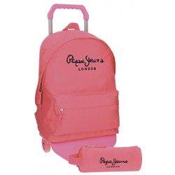Mochila Pepe Jeans Poliéster 42x31x17,5 cm Harlow Rosa con ruedas + estuche escolar