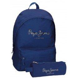 Mochila Pepe Jeans Harlow Poliéster 42x31x17,5 cm Azul Marino + estuche escolar