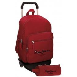 Mochila Pepe Jeans Harlow Poliéster 42,5x30,5x15 cm Roja con ruedas + estuche escolar