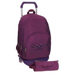 Mochila Pepe Jeans Harlow Poliéster 42,5x30,5x15 cm Violeta con ruedas + estuche escolar