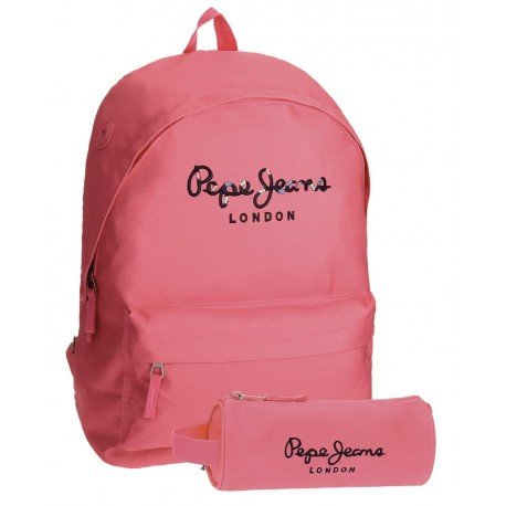 Mochila Pepe Jeans Harlow Poliéster 42x31x17,5 cm Rosa + estuche escolar