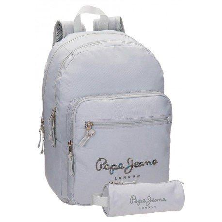 Mochila Pepe Jeans 42,5x30,5x15 cm Harlow Gris doble compartimento + estuche escolar incluido